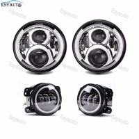 7'' inch amber Angel eye headlights Round LED headlamps+4''inch fog light Passing driving Lamps for Jeep Wrangler