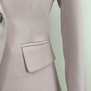 Image 5 - TOP dobrej jakości, najnowsze mody 2020 barokowy projektant marynarka damska klasyczna dwurzędowa marynarka z metalowymi guzikami w kształcie lwa kurtka