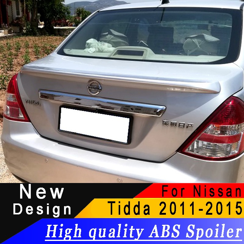 For Nissan Tiida sedan 2011 to 2015 spoiler High quality ABS spoiler Primer or any color rear spoiler for Nissan Tiida