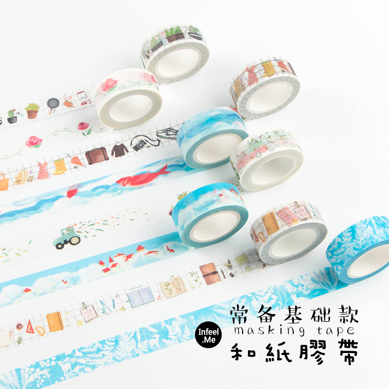Creative Watercolour Japanese Decorative Adhesive Tape Masking Washi Tape Diy Scrapbooking School Supplies Stationery 2017 new arrival masking decorative tape day of the week black white school stationery scrapbooking tool office adhesive tape 7m