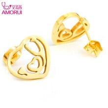 AMORUI Heart Stud Earrings for Women Nurse Medical Stethoscope Stainless Steel Rose Gold Silver Color Earings