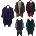 Women Winter Knitted Cashmere Poncho Scarves Scarf Capes Shawl Cardigans Sweater Coat