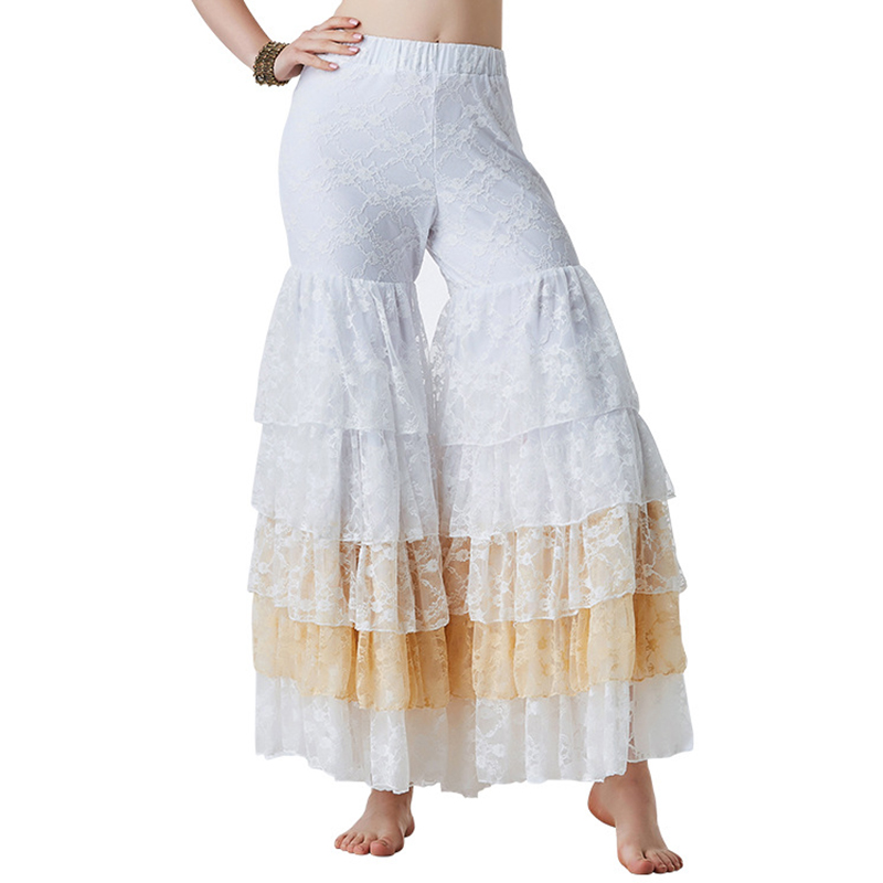 New 2019 Belly Dance Costume Accessories Full Pantaloons Gypsy Bloomers Harem Pants 5 Layered Wide-Leg Trousers Lace