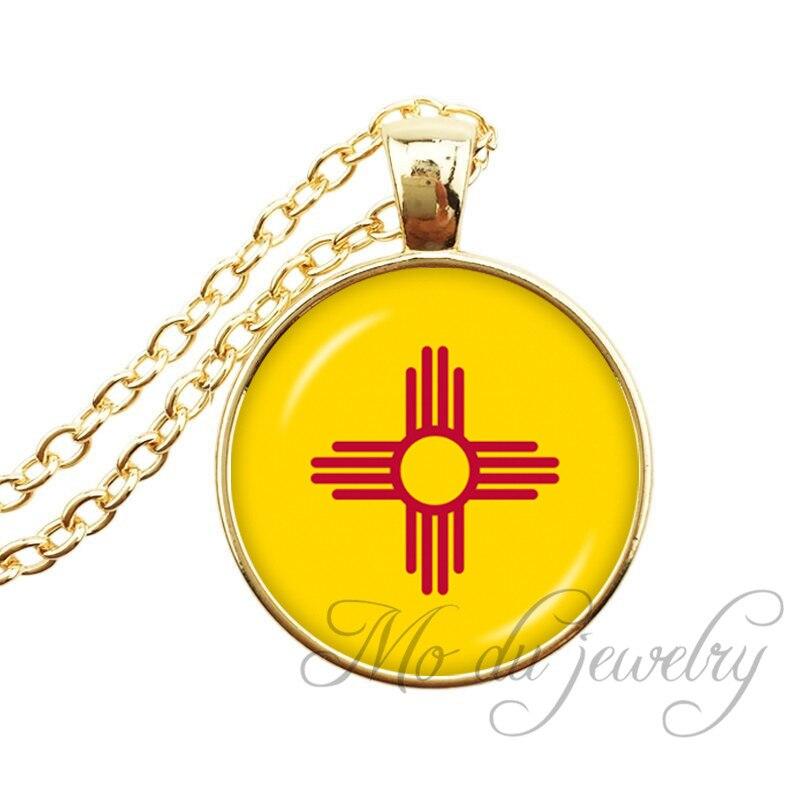 Нью-Мексико Государственный флаг Цепочки и ожерелья штате Нью-Мексико кулон флаг нм Jewelry штатов США Стекло кабошон длинные Цепочки и ожерел... ...