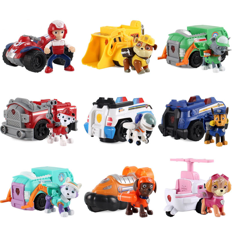 1pcs Russian Cartoon Canine Puppy Paw Patrol Dog Toys Car Action Figures Model Canina Juguetes Children Birthday Movable Joints new 8 styles russian cartoon pat canine patrol puppy dog toys car action figures model dolls kids gift pow pet patrulla canina