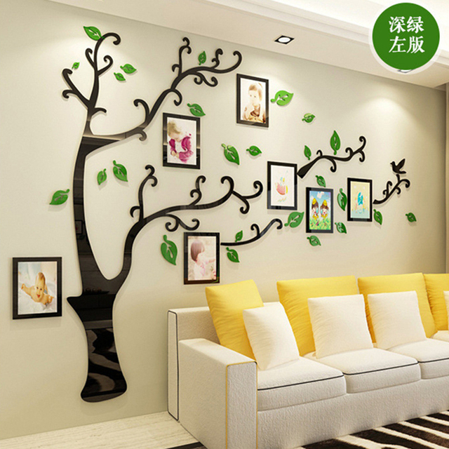 3D DIY Family Wedding Photo Tree PVC Wall Decals, Art Home TV Background Decoration Wall Stickers, 4 Sizes Wall Poster Mural