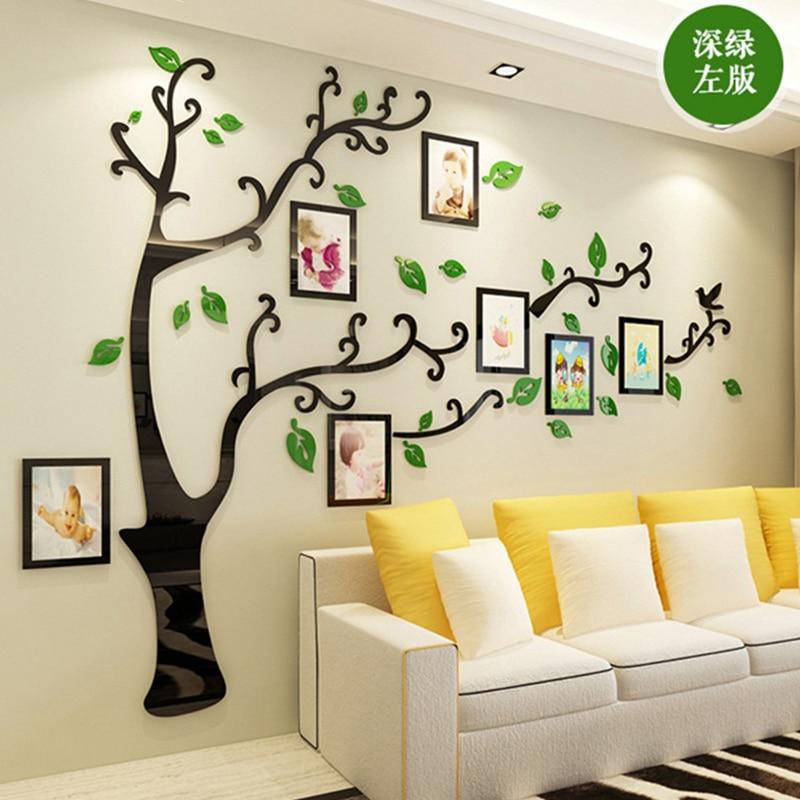 3D DIY משפחה חתונה תמונה עץ PVC קיר מדבקות, אמנות בית טלוויזיה רקע קישוט קיר מדבקות, 4 גדלים קיר פוסטר קיר