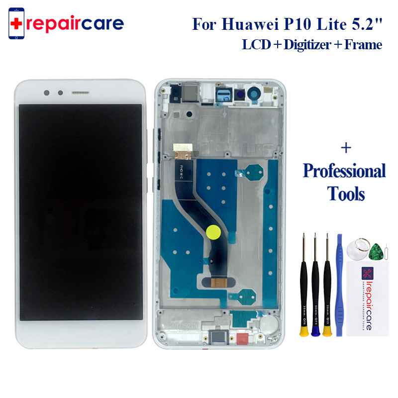 DHL 10pcs For Huawei P10 Lite LCD Screen with frame P10 Lite display Tested Touch Screen
