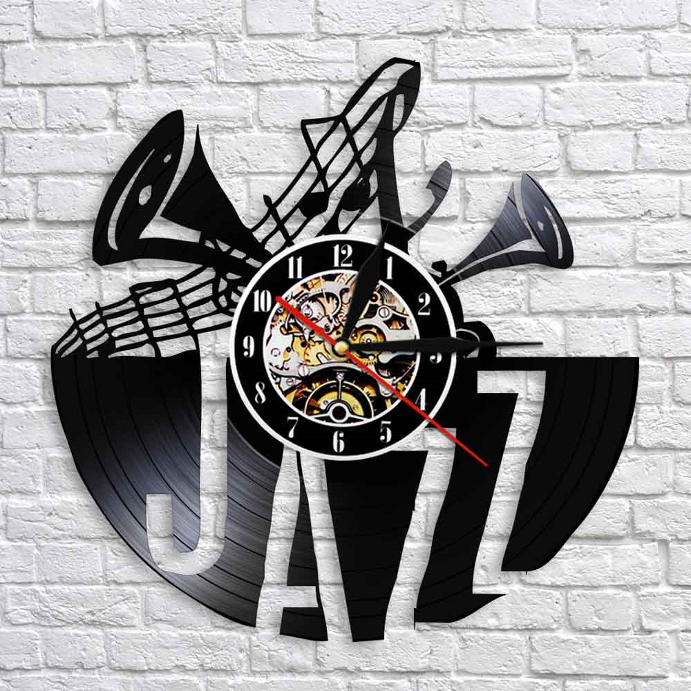 Jazz Vinyl Record Wall Clock Modern Design LED Backlight Time Clock With Color Changing 3D Wall Watch Wall Decor