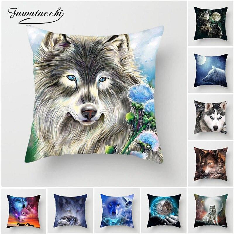 Fuwatacchi Lobo Capa de Almofada Cão Tigre Leopardo da Neve Travesseiro Capa para Sofá Cadeira Casa Decoração Animais Almofadas Decorativas 45*45 CM