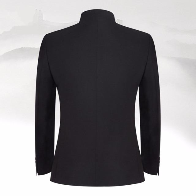 Фото новый дизайн черные мужские костюмы классический костюм с воротником