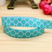 5/8'' Free shipping Fold Elastic blue tiff quatrefoil printed headband headwear hairband diy decoration wholesale OEM H5140