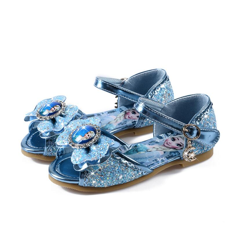 New Fashion Girls Elsa Sandals Princess High Quality Shoes Low Heel Soft Cartoon Summer Toddler Girl Shoes Ice Snow Queen