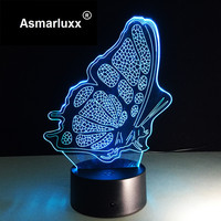 Butterfly LED Night Light Lamp Acrylic Panel Beautiful With Touch Switch 7 Multicolor Change Atmosphere Lamp