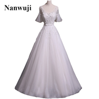 2017 Nanwuji V Neck Lantern Sleeve Empire Classic Wedding Dress With Beadings And Pears Bridal Gowns