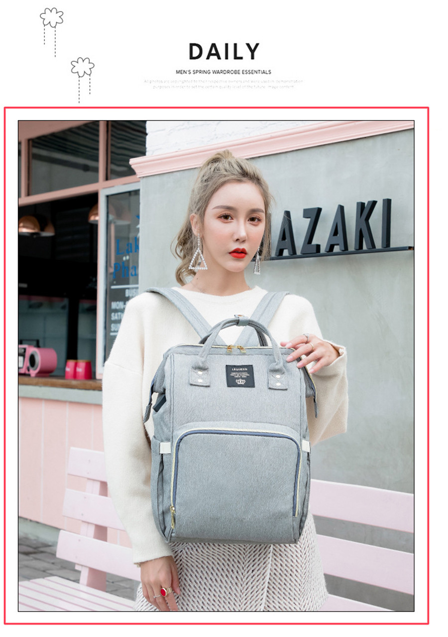 HTB1F.7fa1P2gK0jSZFoq6yuIVXak LEQUEEN USB Diaper Bag Baby Care Backpack for Mom Mummy Maternity Wet Bag Waterproof Baby Pregnant Bag