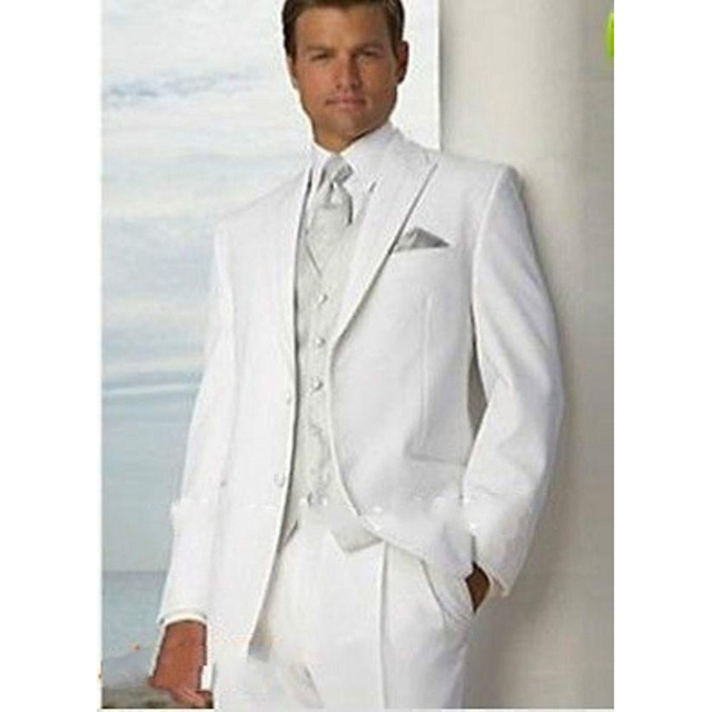 New Simple White Groom Tuxedos Two Button Men Formal Suits Wedding ...