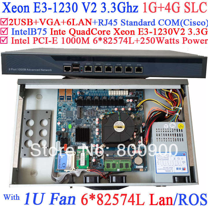 routeros 1U network Firewall with six intel PCI-E 1000M 82574L Gigabit LAN Inte Quad Core Xeon E3-1230 V2 3.3Ghz 1G RAM 4G SLC fiscal end aluminum fanless embedded computer with i3 3217u 6com 4g ram onboard 2 intel lan support wake on lan dual 24bit lvds