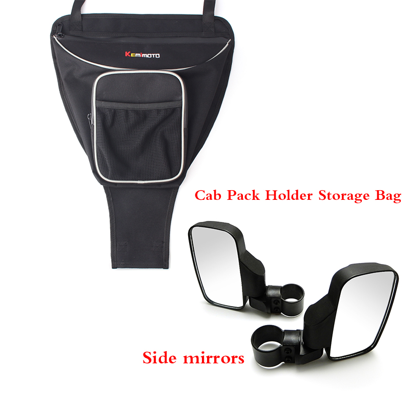 KEMiMOTO Cab Pack Holder Storage Bag UTV for Polaris Ranger RANGER RZR 800 RZR 570 800 1000 900 RZR XP 900 Rearview Side mirrors adjustable 2 heavy duty round sport mirror for polaris rzr 900 570 800 1000 ranger xp 4 for john deere gator hpx xuv