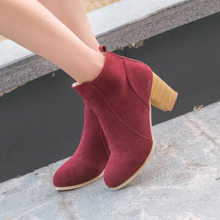 SZSGCN428-2019 New Women Ankle Boots Comfort Low Heels Shoes Woman Short Riding Booties Sexy High Heels Plus Size 35-41(China)