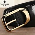 Designer men belts Manbang Brand Luxury cowskin leather Gold/Siver Pin Buckle waist belt Black strap MBP0214