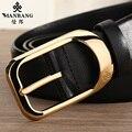 Diseñador de los hombres de Marca de Lujo de cuero de piel de vaca cinturones Manbang Oro/Siver MBP0214 correa de Hebilla de cinturón Negro