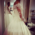Women Dress Wedding Long Off The Shoulder Satin Appliques Lace Ball Gown Wedding Dresses With Full Sleeves