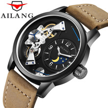 AILANG Brand Sport Men Watch Top Brand Luxury Male Leather Waterproof 50M Military Mechanical Wrist Watch Men Clock saat Watches