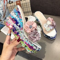 2019 summer brand new bohemian flower sequins high heels fish mouth transparent rhinestone sequins banquet gladiator slippers