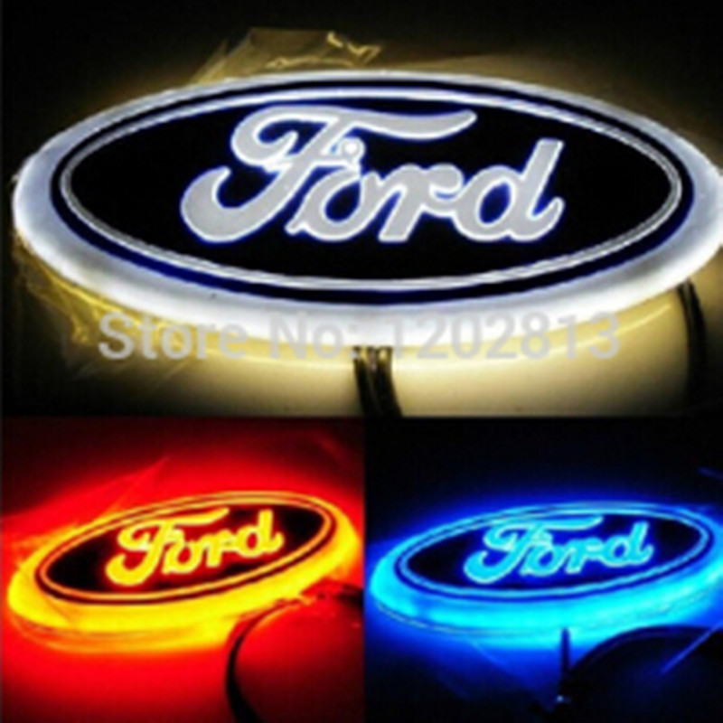 Free Shipping New High Quality WHITE/Red/Blue LED REAR Badge Emblem Car Logo for FORD MONDEO-10 FOCUS-07 14.5cm x 5.6cm 1 set 4d car decoration logo lights led auto badge emblem lamp led waterproof blue red white for mercedesbenz