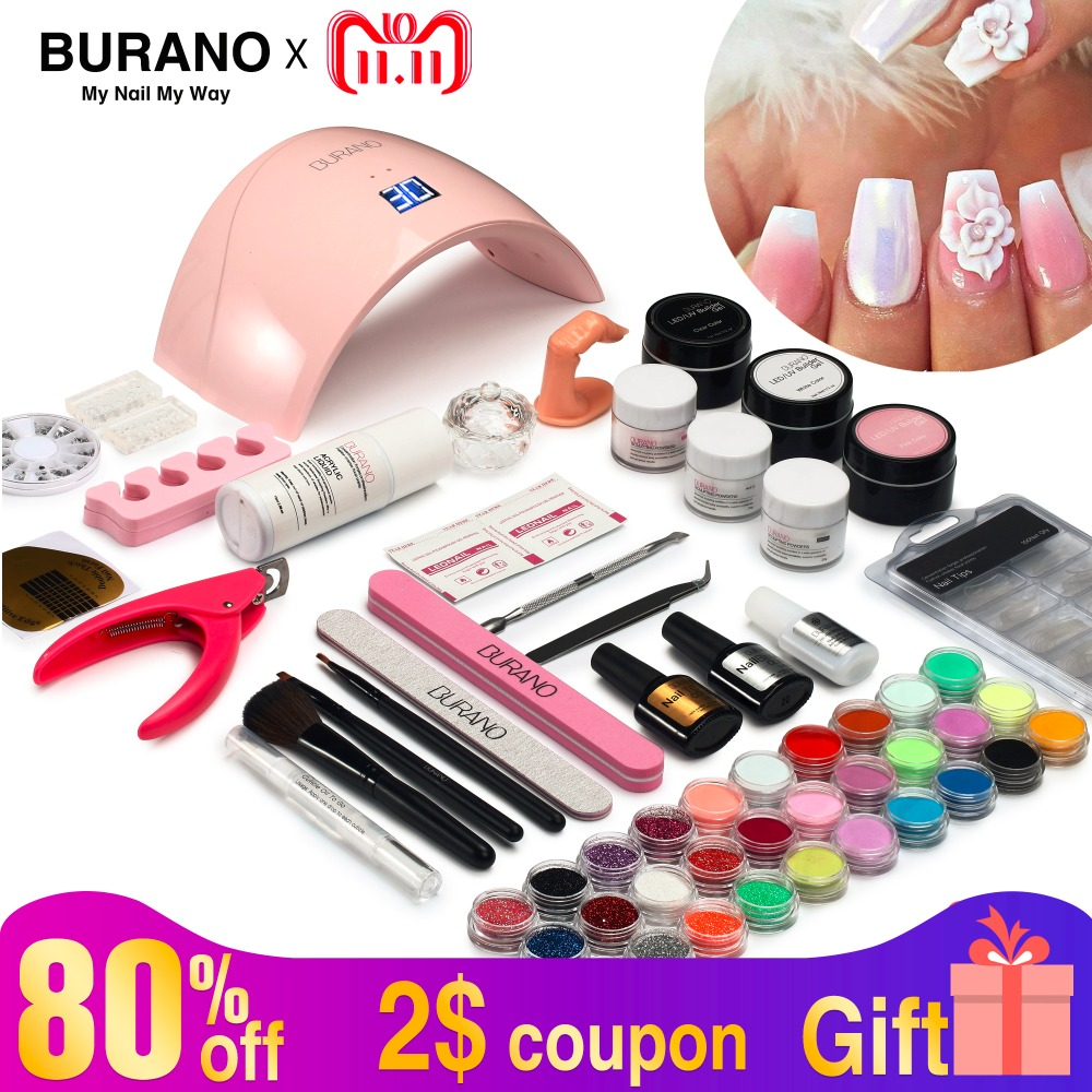 Burano new arrive acrylic nail art set UV/LED nail lamp Dryer acrylic nail kit set with lamp nail tools set 011 burano uv led lamp
