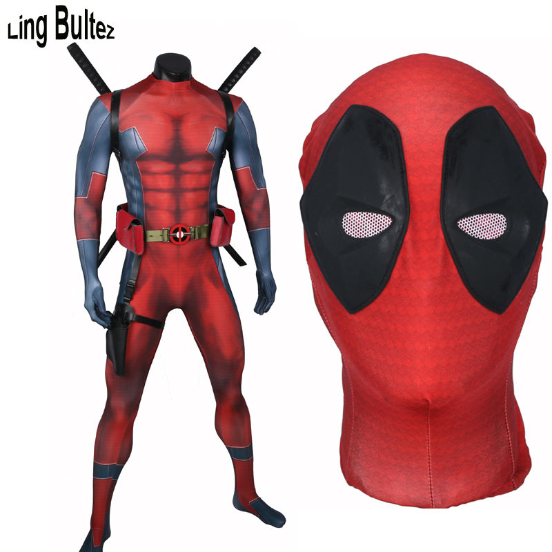 Ling Bultez High Quality Comic Deadpool Costume Adult Spandex Muscle Deadpool Suit