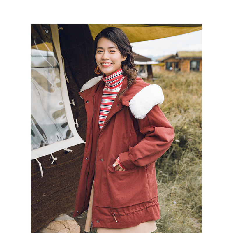 INMAN invierno nueva llegada moda cuello de piel suelta terciopelo más grueso largo sección mujer abrigo de algodón-in Parkas from Ropa de mujer    1