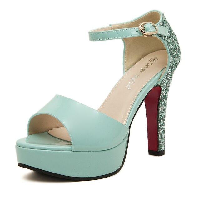 55918e0e32c Glitter high heels mint green heel shoes women open toe ankle strap platform  sandals sexy fashion summer pumps ladies shoes 2014