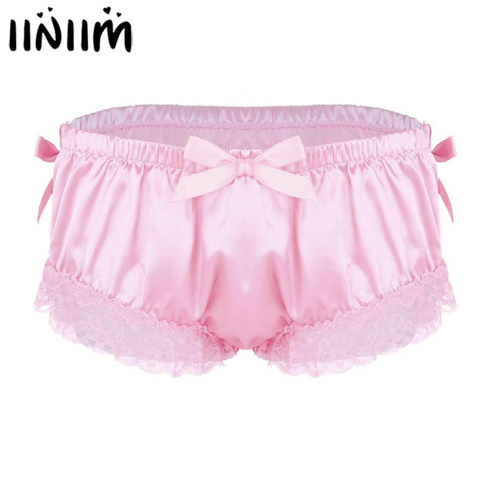 ce252e253a4 Detail Feedback Questions about Mens Sissy Panties Shiny Satin Ruffled  Floral Lace Cute Bowknot Knickers Briefs Bikini Slip Homme Lingerie  Underwear for Man ...
