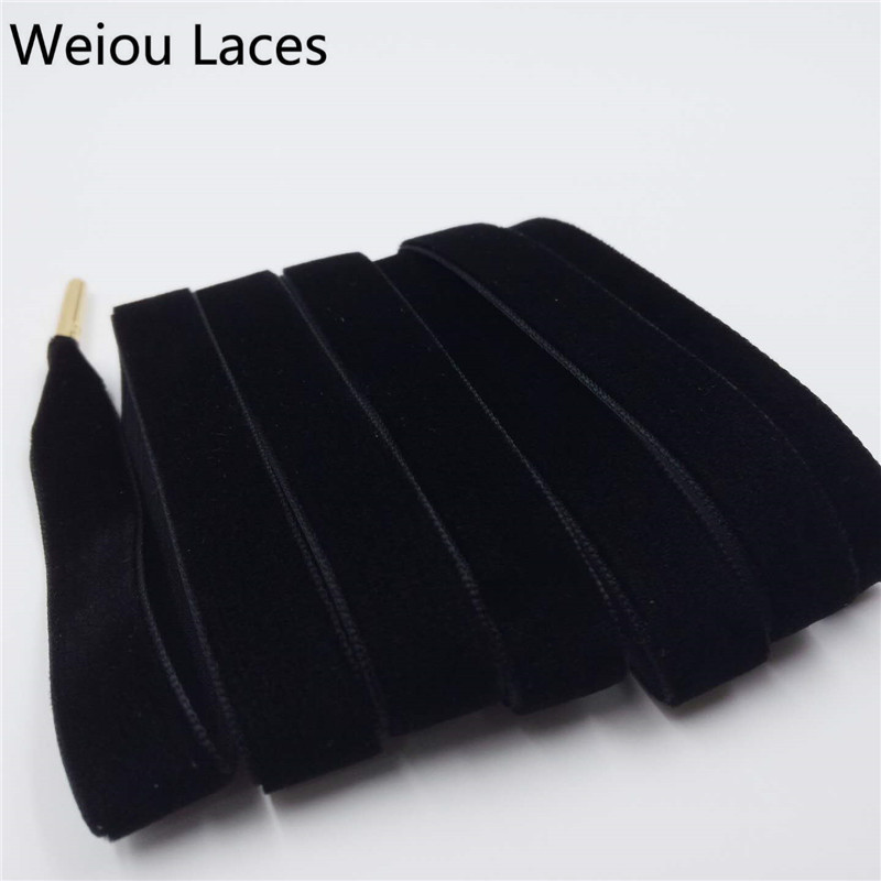 New Arrival Weiou 1.27cm Width Metal Tips Flat Single Side Velvet Shoelaces Shoe Laces For Sneaker Sport Shoes Drop Shipping