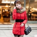 2014 new women's down cotton-padded jacket female winter medium-long slim large fur collar wadded jacket coat outerwear