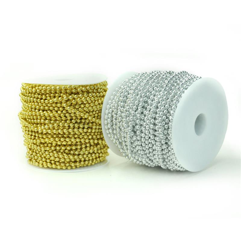 Non-brand 5 Meters Plastic Beads Beaded Ribbon Trim String For Wedding 1.5mm 5.4 Yards Silver