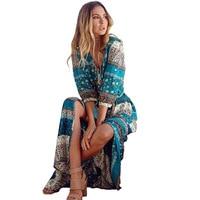 2017 New Bohemian Printing Long Dress Women Maxi Long Dress Floral Print Retro Hippie Vestidos Chic