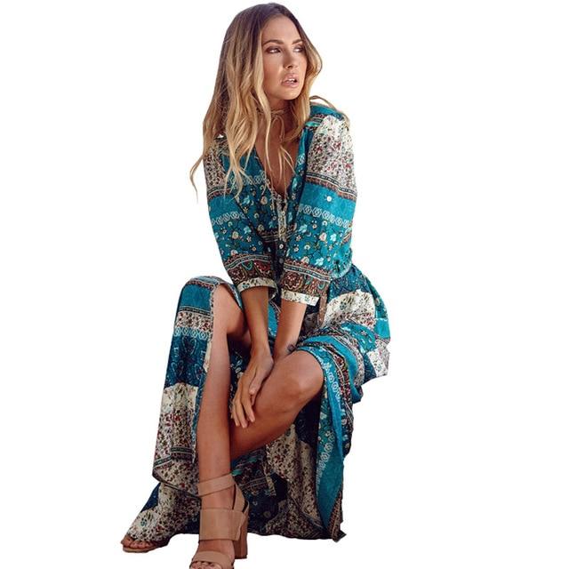 Новинка 2017 богемный рисунок длинное платье женские макси длинное платье с цветочным принтом в стиле ретро хиппи Vestidos Шикарный Бренд одежда бохо платье