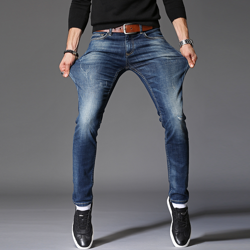 buy 2018 spring new slim jeans men ripped denim jeans casual cotton stretch. Black Bedroom Furniture Sets. Home Design Ideas