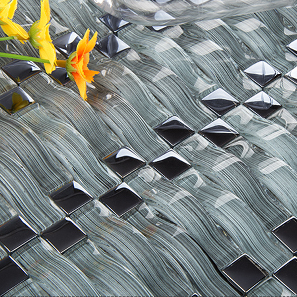 3D effect interior glimmer mosaic kitchen backsplash wall tile