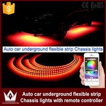 Tcart приложение управления 90/120 см автомобиль RGB Светодиодные ленты светодиодный под автомобилей Glow днища Системы неоновый свет водонепроницаемый авто тюнинг автомобилей