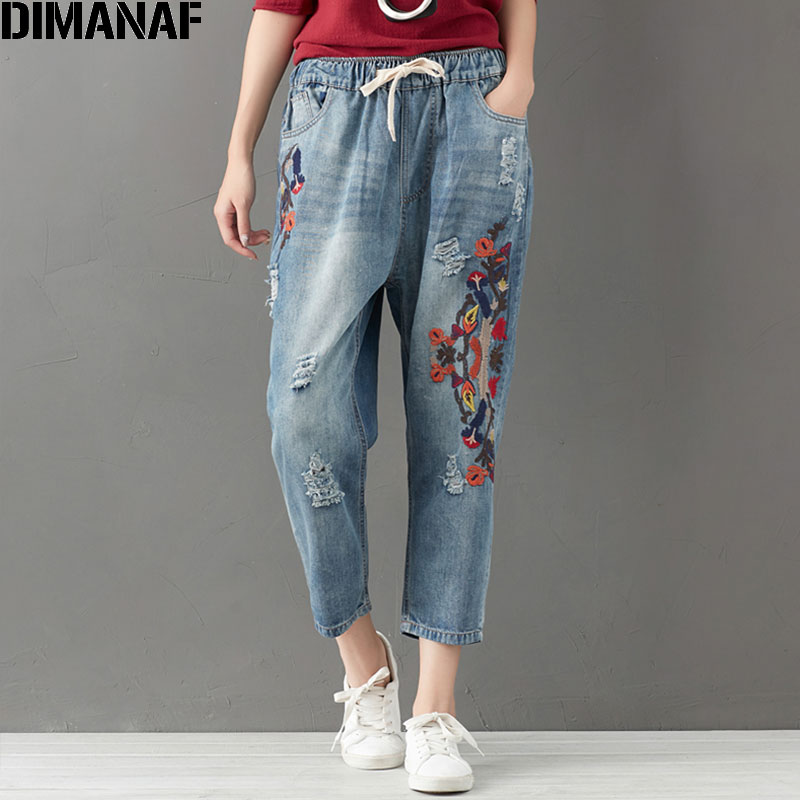 DIMANAF Plus Size Women Jeans Autumn Harem Pants Embroidery Floral Elastic Chinese Style Vintage 2017 Winter Jeans Oversize 3XL