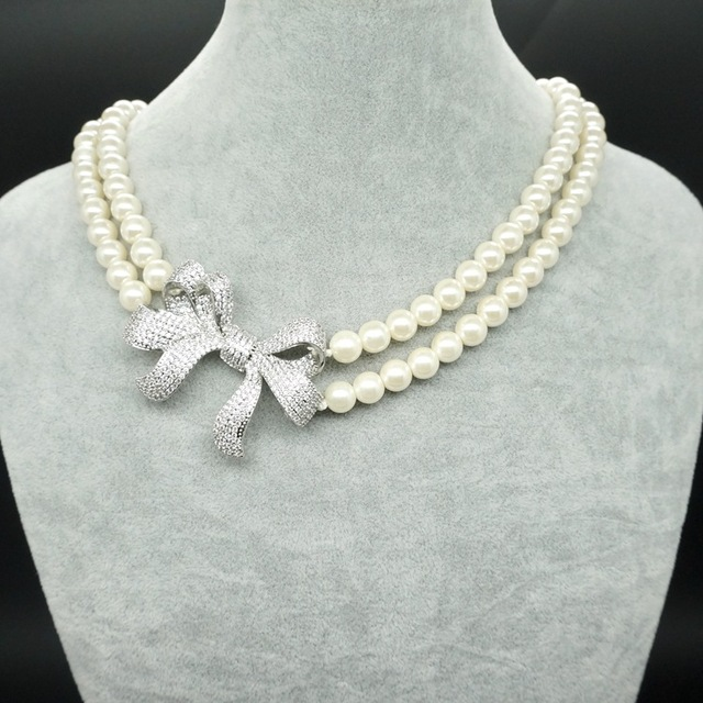High grade jewelry bow tie chain pearl necklace chain double double necklace jewelry Christmas gift free shipping