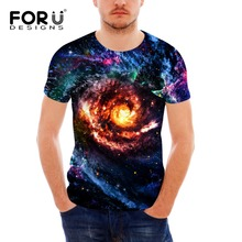 FORUDESIGNS 3D Galaxy Star Universe Space Print Mens Short Sleeve T Shirt Soft Spandex Teen Hip-hop Hipster tees tops for Male