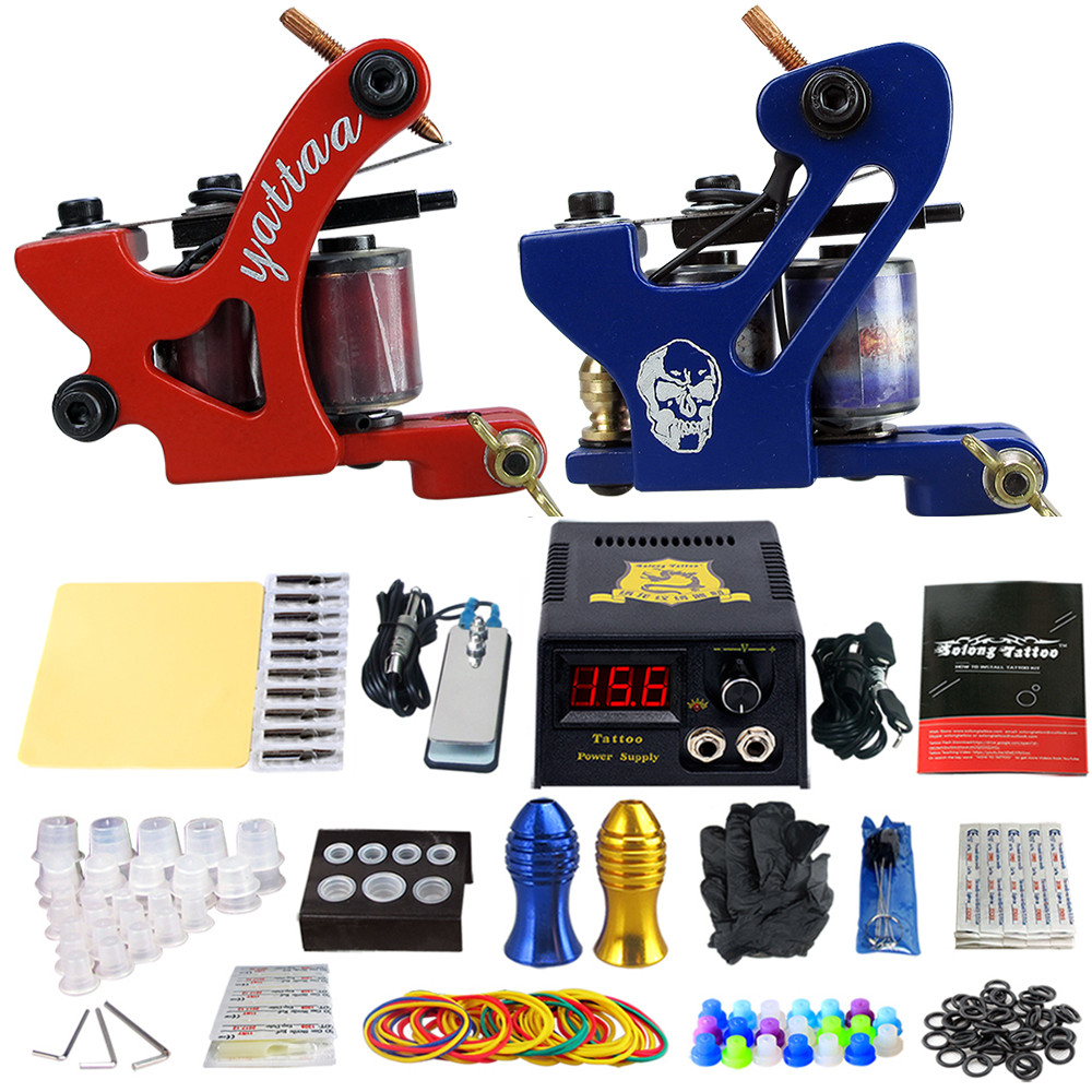 Complete Tattoo Machine Kit Set 2 Coils Guns Sets Grips Body Arts Supplies Needles Tips Tattoo Beginner Kits TK202-34 usa dispatch complete beginner tattoo kit 3 machines guns lcd power needles tips grips set equipment supplies