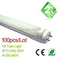 Free Shipping 100pcs/Lot 5ft T8 LED Fluorescent Tube Light 1500mm 25W 2350LM CE & RoHs 2 Year Warranty SMD2835 Epistar