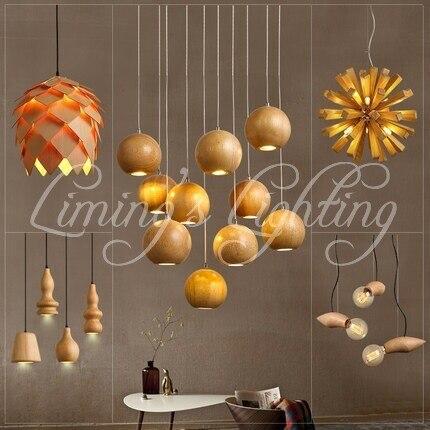 Nordic Minimalist Retro Pendant Light Oak Wood Vintage Lamp Lighting Restaurant Dining Room Coffee Hall Pendente de teto Laparas