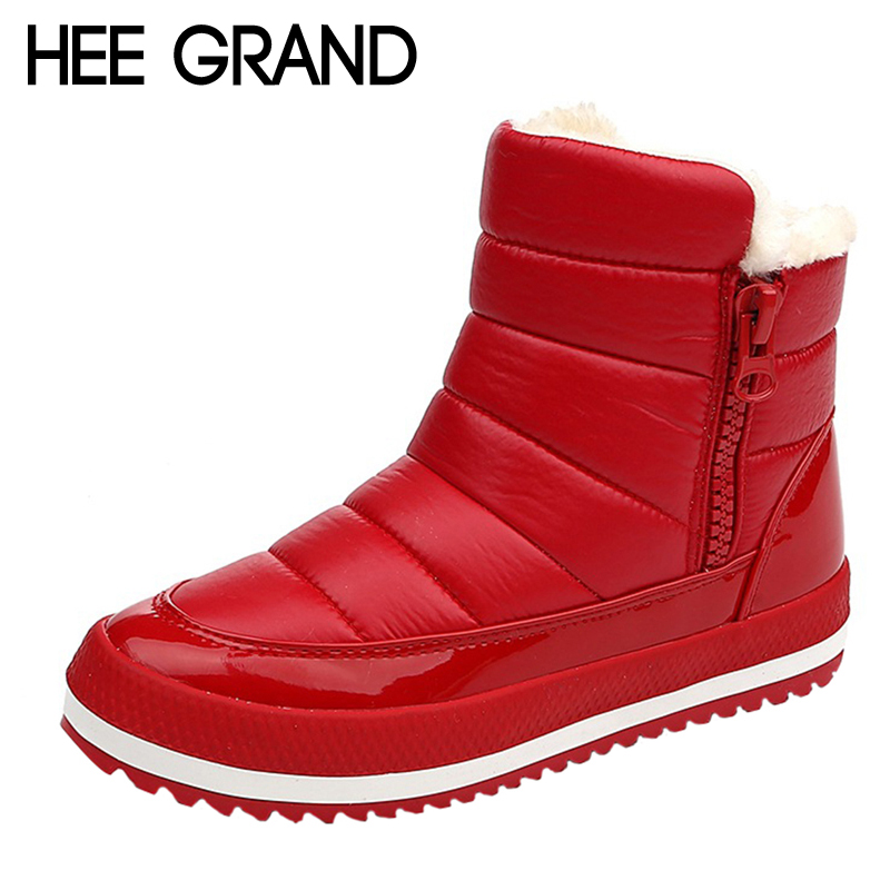 HEE GRAND Waterproof Women Snow Boots 2017 Warm Platform Winter Mid Calf Boots Casual Slip On Flats Shoes Woman XWX6309 yub brand waterproof rain boots for women with solid color slip on winter mid calf shoes for girls